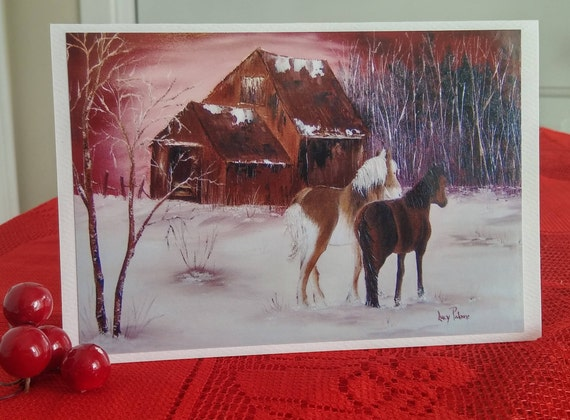 Christmas/card/greeting card with horses/Christmas card in the countryside/time of the holiday/Christmas/holiday wishes-CC-LP-0047