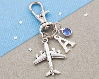 Airplane purse charm, aeroplane bag charm, zipper charm, personalized gift, swarovski birthstone, travel gift, pilot gift, flight attendant