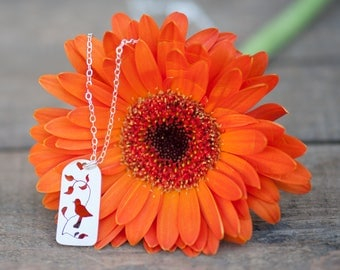 Bird on a Branch Necklace Hand Sawn from Sterling Silver