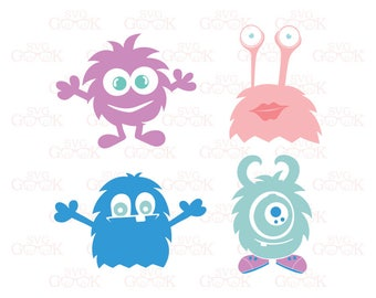 Monsters SVG cut files for  Silhouette, Cricut and other Vinyl Cutters, digital cut file, svg files