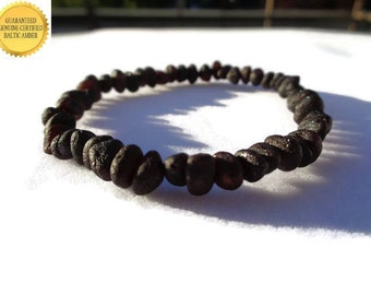 Amber Bracelet for Healing, Raw Baltic Amber Bracelet for Adults, Black Cherry Amber, Pain Relief, Joint Pain, Arthritis, Reduce Swelling