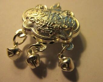"Chinese Silver Longevity Lock Pendant with Three Dangling Bells, 1"""