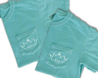 Big Little Sorority Shirt, Big Little T-Shirt, Big Little Crown, Big Little Pocket Tee, Sorority Comfort Colors Shirt, Big Little Reveal