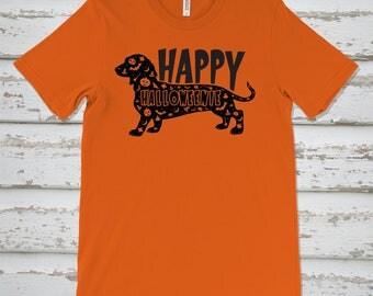 Happy Halloweenie Dachshund Dog T Shirt, Bella Canvas Ringspun Cotton Shirt, Halloween T Shirt, Weenie Dog Shirt, Dachshund Puppy