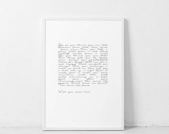 Wish You Were Here ART PRINT Pink Floyd Lyrics Poster   Black and white song quote   Song lyrics word wall art typography minimalist artwork