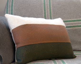TOLOSA Neutral Stripe Lumbar Cushion Cover – Cream, Olive Green, Upcycled Wool Vintage Fabric, Retro Inspired, Mid-Century Mod Throw Pillow