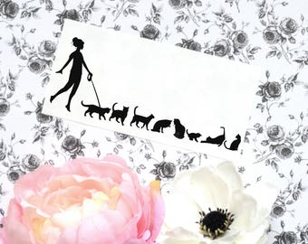 Cat Vinyl Car Laptop Decal, Cat sticker, Woman Walking Cats decal