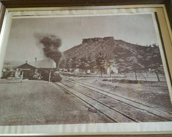 "antique framed picture castle rock colorado rr train station b&w litho photo print 15""x19"" - steam locomotive engine vintage wall hanging"