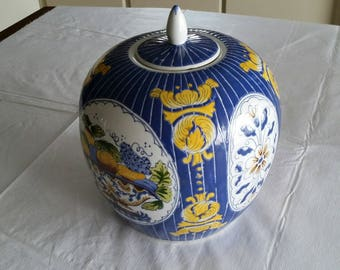 "vintage 9.5"" tall oriental vase / ginger jar - cloisonne fruit basket lined designs - large blue white & yellow signed art pottery asian"