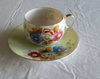 antique teacup & saucer set 1950 's - fine porcelain china hand painted flowers and gold trim - vintage floral kitchen serving tea cup
