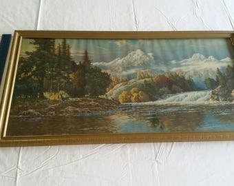 "antique wood framed art lithograph colored picture 15""x29"" - deer mountains water rapids wall hanging vintage trees wilderness photos forest"