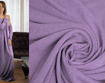 LAVENDER LILAC Purple Wool Fabric by the Yard Sweater Knit Angora Viscose Jersey Stretch Material for Cardigans Solid Italian Luxury Textile