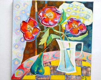 3D oil painting 3D flowers Texture painting 3D still life Still life oil painting Still life on canvas original art oil painting original