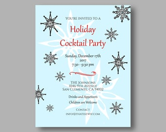 Holiday Invitations, Custom Snowflake Invites for Holiday or Christmas Party, 5.5 x 4.25 inches, Customized Set of 10 Invitations