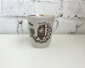 Unused Soviet porcelain cup, Retro Russian tableware, Vintage coffee mug with Eagle Owl print, New old stock