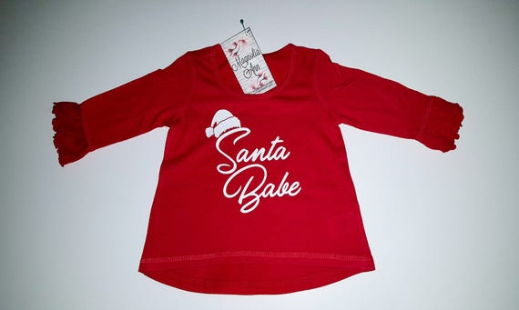 Santa Babe Infant Baby Toddler Red Ruffled 3/4 Sleeve High Low Top, Baby Christmas Shirt, Infant Christmas Shirt, Toddler Christmas Shirt