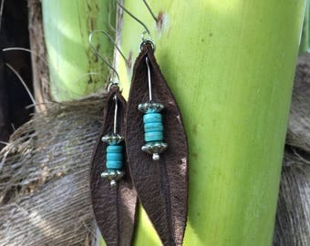 Leather Leaf Drop Earrings Embellished with Silver and Turquoise Accents