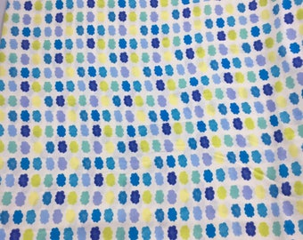 Blue & Yellow Watercolour Clouds Fabric ~ Japanese Fabric ~ Double Gauze Fabric ~ Weave and Woven