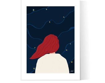 Midnight Sky Illustration / Red Hair Girl Poster / Dreamy Night Print / Stars Sky Poster / Printable Art / Instant Download / 2JPEG Files