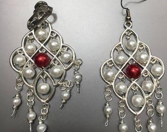 A Splash of Red - Chandelier Earrings