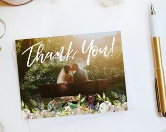 Wedding Thank You Card Custom Photo Wedding Thank You Cards Botanical Wedding Thank You Cards Floral Wedding Thank You Cards Garden2