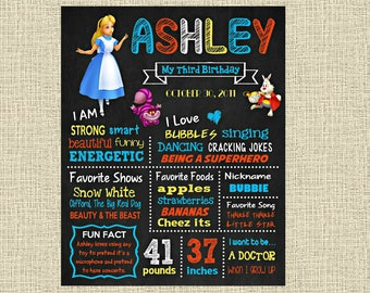 Alice in Wonderland Birthday Chalkboard Poster - Disney Wall Art design - Birthday Party Poster Sign - Any Age