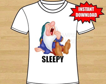 Snow White and the Seven Dwarfs Birthday Iron On Shirt Transfer - tshirt or clip art printable - Instant Download - Sleepy