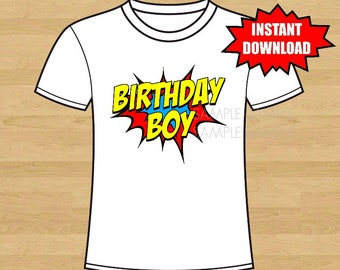 Superhero Birthday Iron On Shirt Transfer, Super Hero tshirt or clip art printable, Instant Download, Birthday Boy