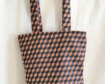 Tote bag, imprimé graphique,  motif cube, sac shopping, sac fourre-tout, cadeau pour elle