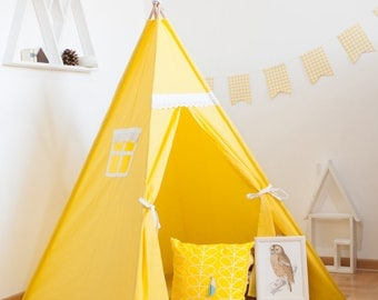 Yellow sunny vigvam with lace (teepee, tipi) shipped with adjustable poles.