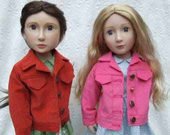 Denim or Cord Jackets for A Girl for All Time Dolls by A Message for Matilda