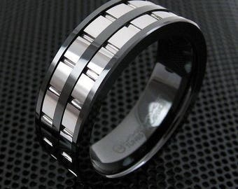Gunmetal Mens Tungsten Ring Double Silver Grooved Gear Design Bridal Jewelry Black Meteorite Inlay Wedding Band