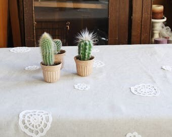 Large Tablecloth with embellishment Linen table cover Natural pure linen Dining tablecloth Handmade table decor Washed Table linens Gifts
