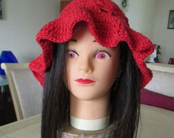 Red cotton Hat summer hat for women