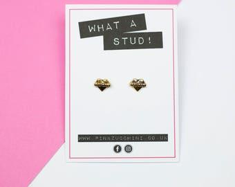 Fearless earrings Feminist earrings gold feminist stud earrings gold earrings feminist jewellery strong woman heart earrings tattoo style