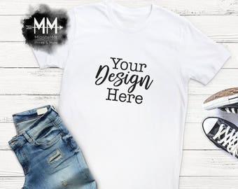 White T-Shirt Mockup, White Shirt Flat Lay Display, Short Sleeve White Tshirt, Apparel Display, Vinyl Business Styled Shirt Realistic Mockup