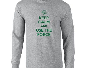 Keep Calm use the force funny yoda space star sci fi geek nerd wars vintage retro - Apparel Clothing - Long Sleeve shirt - 20