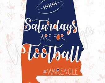 Auburn Tigers Saturdays are for Football .SVG File for Cricut, Silhouette Studio & more!