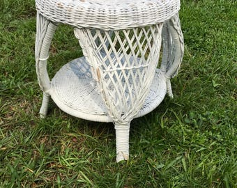 Vintage Wicker Stool, White Wicker, Wicker Plant Stand, Wicker End Table,  Natural