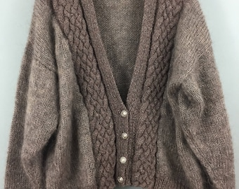 Vintage HAND KNITTED brown mohair cardigan L XL cable trims
