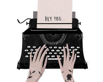 Hey You... vintage typewriter art illustration print
