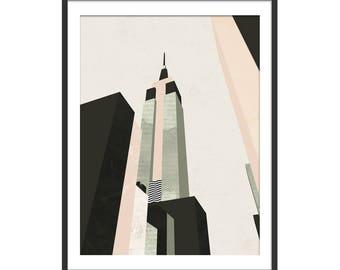 Empire State Art Print by Green Lili. New York Art Print. Manhattan Print. NYC Art. Wall Art. Gift. Wall Decor.
