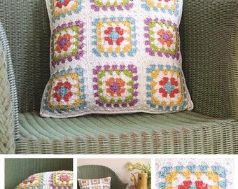 DMC crochet Pattern. Granny Square Cushion Cover , DMC pattern, home decor ,crochet pillow, cushion crochet