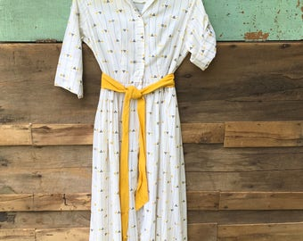 Gold and White Print 1940s Dress