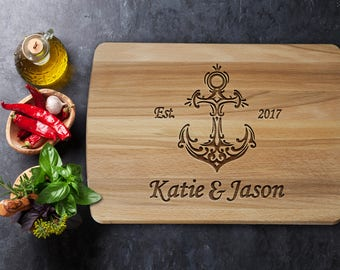 Personalized Cutting Board - Nautical Wedding Gift - Custom Cutting Board - Wedding Gift - Nautical Cutting Board - Nautical - Anchor Decor