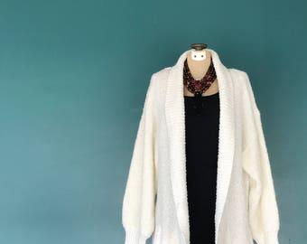 White Nubby Sweater Jacket. Boucle Sweater. Slouchy Sweater. Long White Cardigan. Knit Jacket. Sweater Coat. Cardigan Jacket. Small