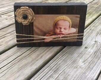 Wood Burlap Picture Frame