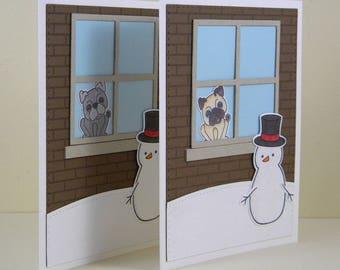 Pug Christmas Card, Pug Holiday Card, Pug Winter Card, Dog Christmas Card, Dog Holiday Card