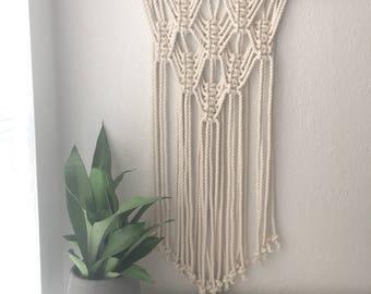 Layered Diamonds Geometric Macramé Wall Hanging // Tapestry // Bedroom Wall Art // Office Decor // Boho // Minimalist