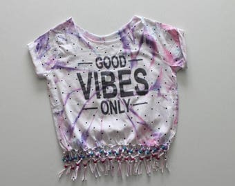 Good Vibes Only T-Shirt | Up-cycled Clothing |T-shirt |Summer Vibes |Festival Clothing |Beaded top |Quote |Summer Clothes|Holiday Top